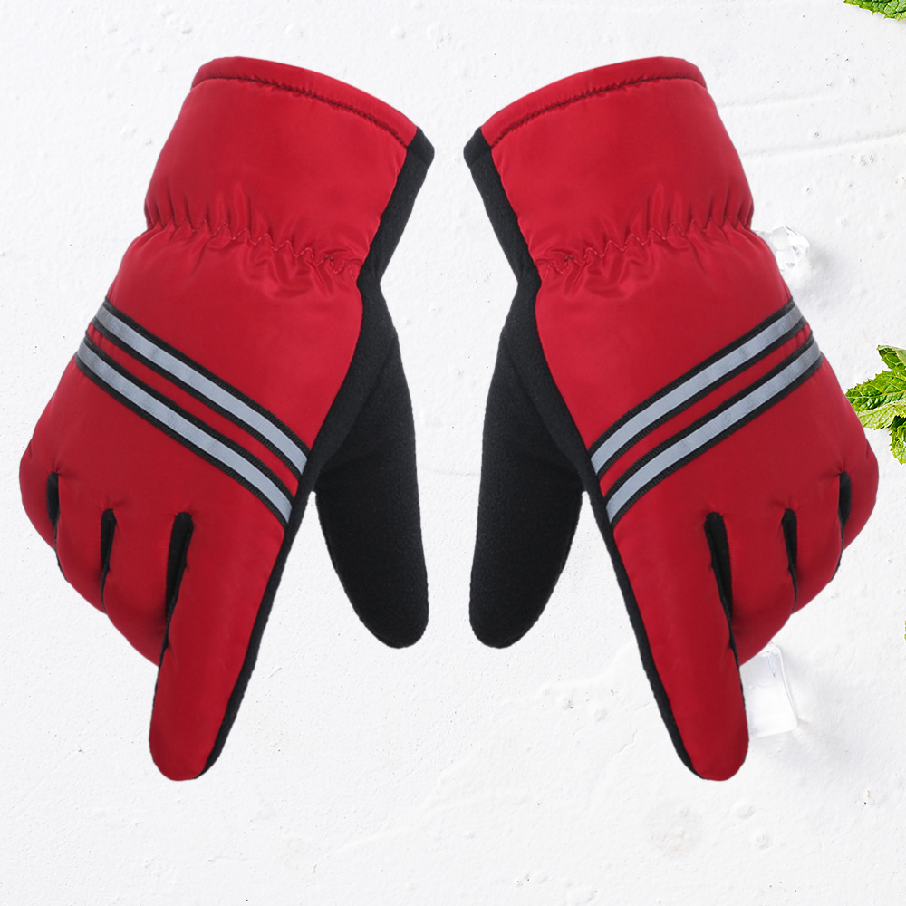 Winter Warm Windproof Thick Non-slip Sports for Running Biking(Red)