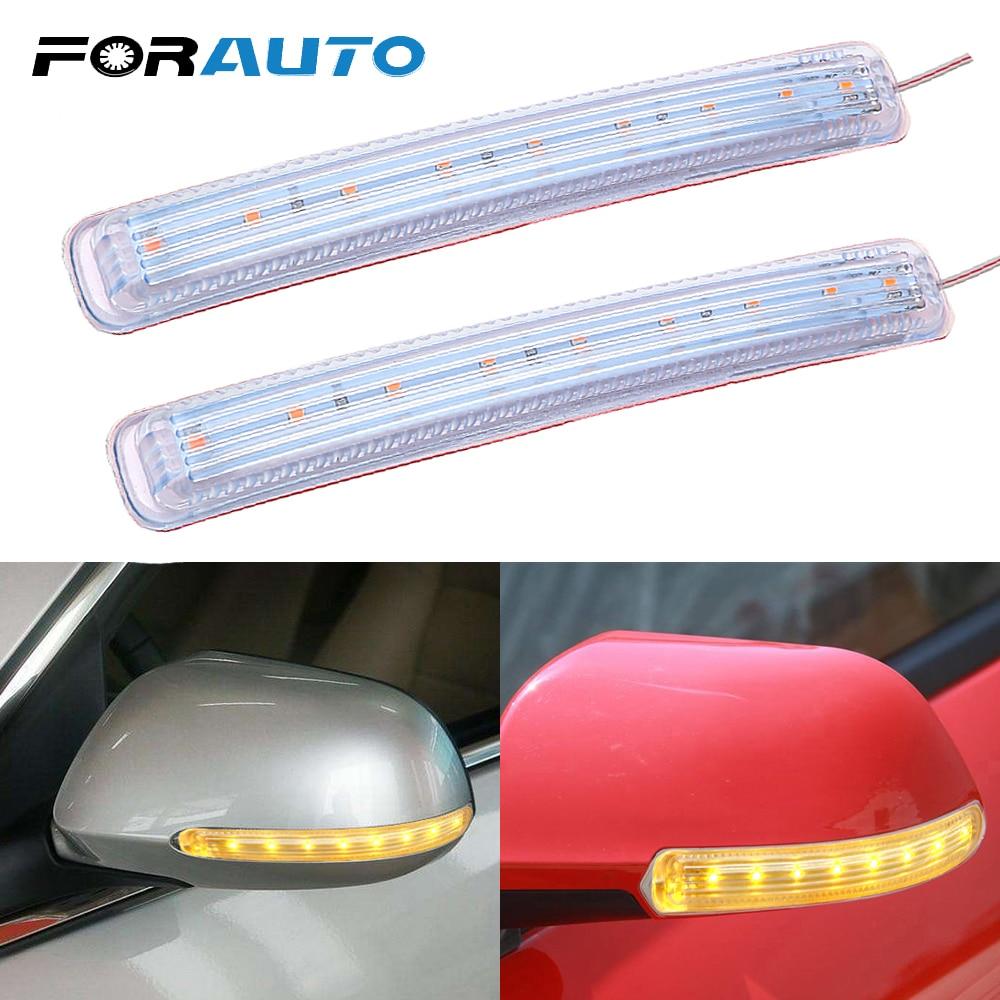 FORAUTO 2PCS Amber LED Car Light Source Yellow Soft 9 SMD FPC Turn Signal Light DC 12V Auto Rearview Mirror Indicator Lamp