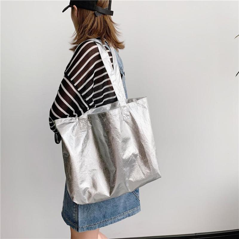 Fashionable Handbag Casual Shoulder Bag For Women Girls Bolsas Solid Colour Gold And Silver Large Capacity Shopping PVC Totes