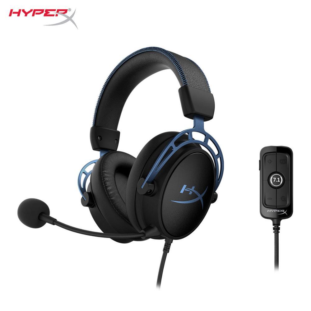 [해외] Hyperx cloud alpha s 게임용 헤드셋 custom-tuned hyperx 7.1. 서라운드 사운드 헤드폰 hyperx 듀얼 챔버 드라이버 super comforta