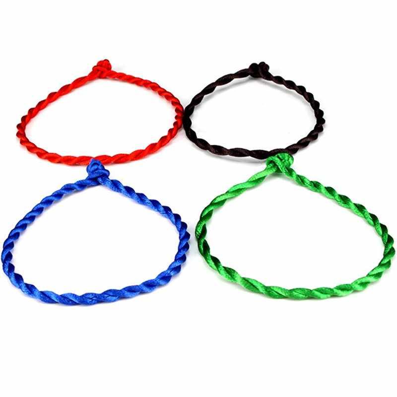 Gorąca sprzedaż 2019 1PC moda czerwona nić bransoletka sznurkowa szczęście czerwony zielony ręcznie robiona bransoletka na sznurku dla kobiet mężczyzn miłośnik biżuterii para