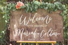 Wedding Party Decor Decals Wood Welcome Sign Vinyl Stickers Custom Names Decal for Board Mirror Rustic Wooden G820(China)