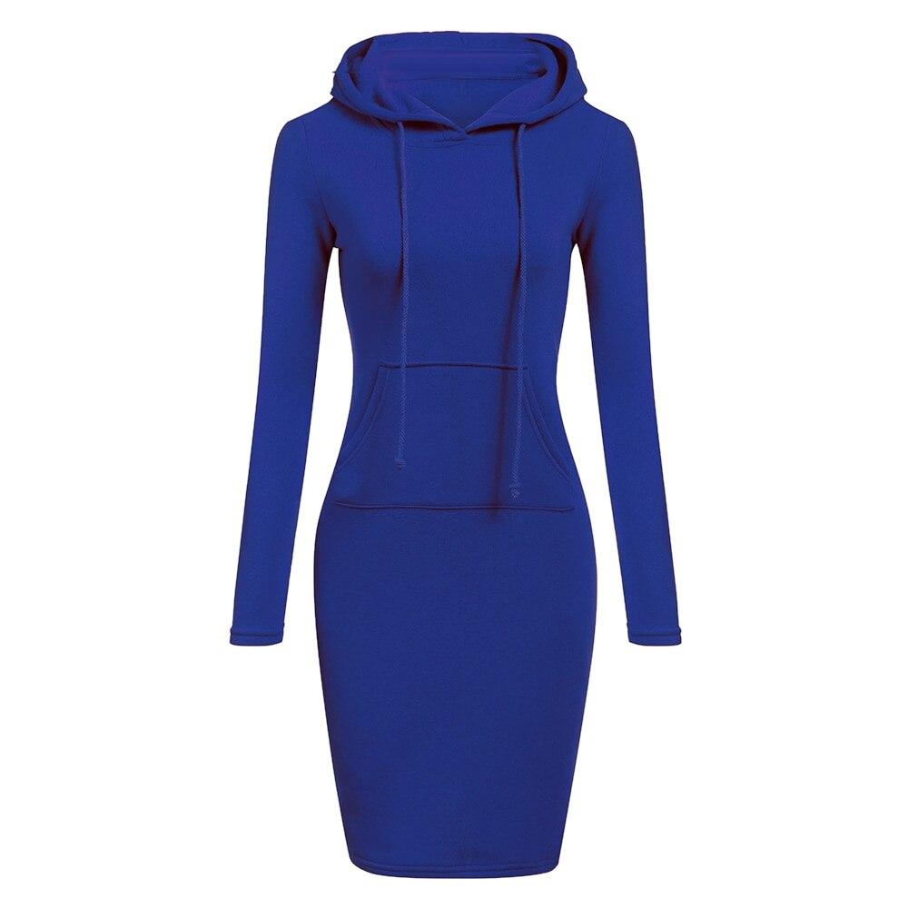 Autumn Winter Warm Sweatshirt Long-sleeved Dress Woman Clothing Hooded Collar Pocket Simple Casual lady Dress Vesdies Sweatshirt 6