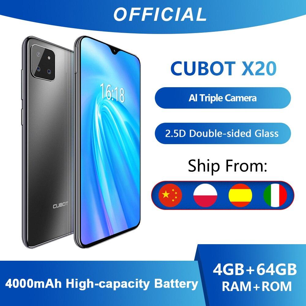 Cubot X20 AI Tripla Fotocamere 4GB + 64GB Smartphone Economici in Offerta (2020) 6.3 FHD Pollici 2340 * 1080 Doppia Faccia di Vetro Corpo Android 9.0 Octa Core Face ID Dual SIM Cellulare Helio P23 Batteria 4000mAh