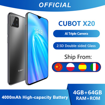 Cubot X20 AI Tripla Fotocamere 4GB + 64GB Smartphone Economici in Offerta (2020) 6.3 FHD Pollici 2340 * 1080 Doppia Faccia di Vetro Corpo Android 9.0 Octa Core Face ID Dual SIM Cellulare Helio P23 Batteria 4000mAh 1