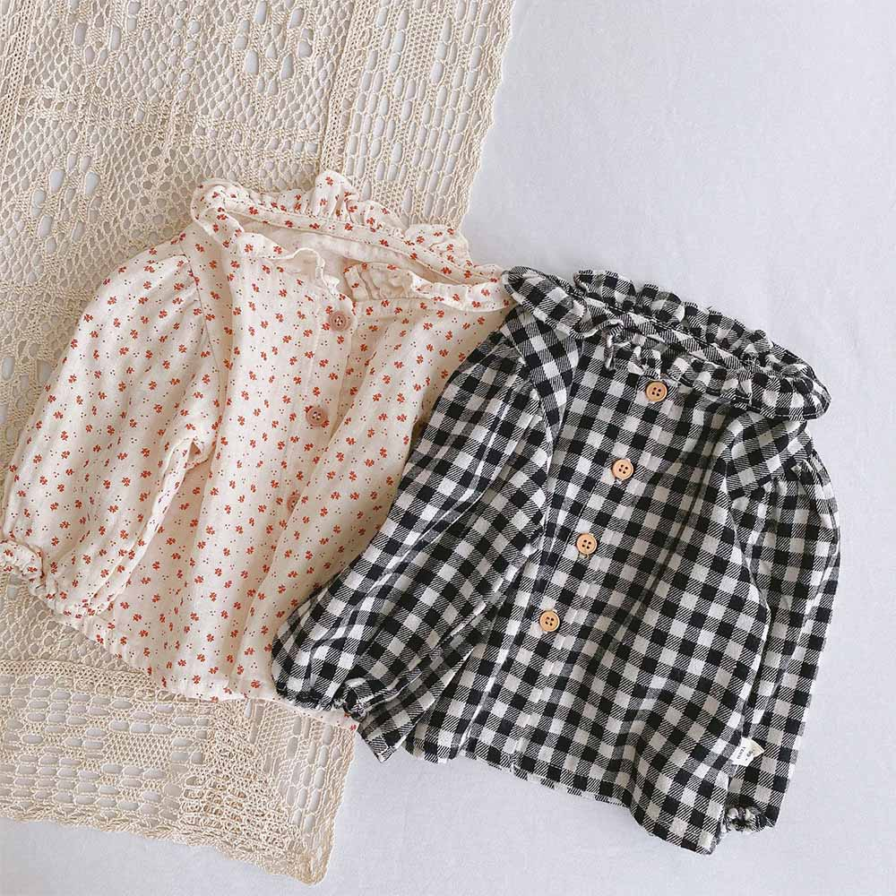 Cotton Baby Girl Spring Tops Plaid Floral Long Sleeve Infant Tops And Blouses First Birthday Newborn Clothing