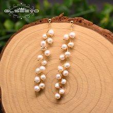 Glseevo натуральный пресноводный белый жемчуг длинные висячие