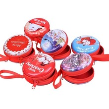 цена на Round Christmas Coin Purse Cash Box Xmas Gift Case with Zipper for Coins Cash Headset USB Cable Keys Jewelry Storage Box