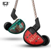 Kz AS10 Cyaan 5BA Balanced Armature Driver Hifi Bass In Oortelefoon Monitor Game Headset Noise Cancelling Oordopjes