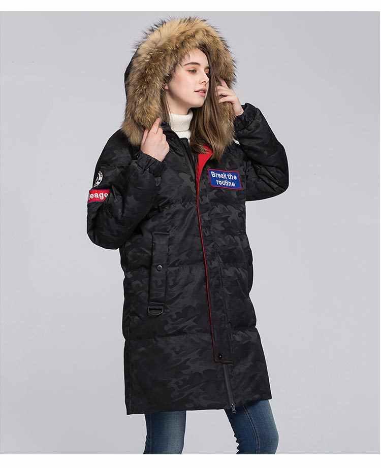 คุณภาพสูงสตรีแคนาดาคู่ Parka ลงเสื้อฤดูหนาวหนาภายนอกขนาดใหญ่ Raccoon ขน