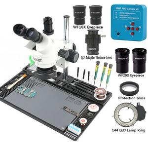 Image 2 - 38MP 2K 1080P HDMI kamera USB 3.5 90X simul focal Trinocular mikroskop Stereo 1/2 CTV Adapter naprawa platforma konserwacyjna