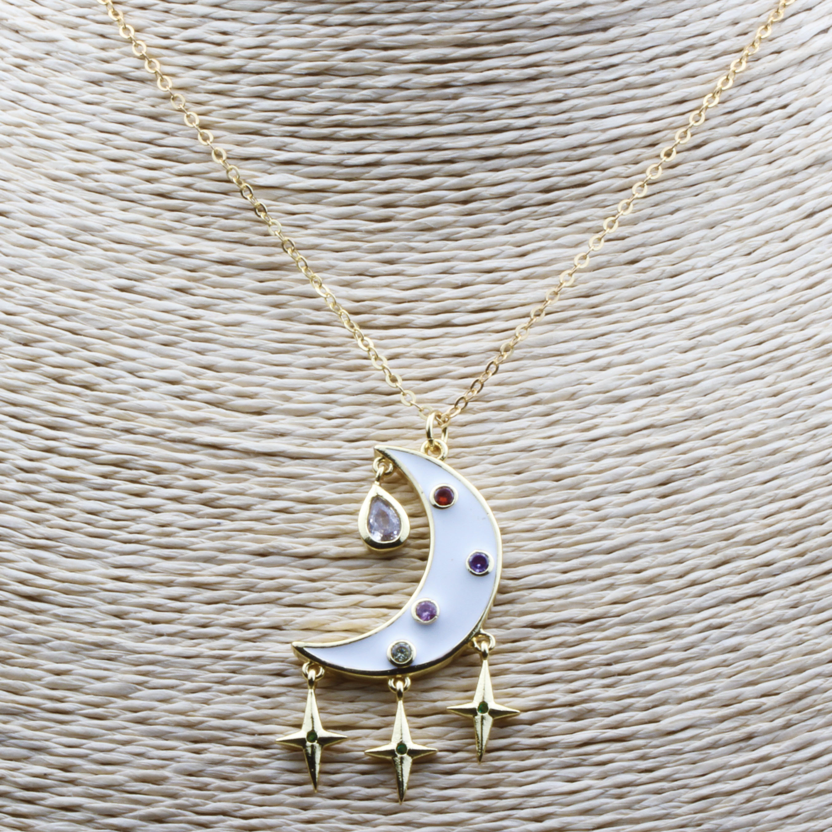 New Trendy Dangle Enameled Tassels Pendant Necklace Metal Copper Link Chain Moon Star Shape Necklaces For Women Jewelry Gift