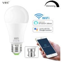 Lâmpada inteligente wifi brilho regulável lâmpada led 15 w e27 b22 amazon alexa google casa ios/android controle remoto lâmpada led