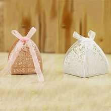 Wedding Creative Candy Bags 50pcs/set Rose Laser Hollow Gift Box Party Packing For Birthday