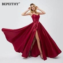 BEPEITHY vestido de festa красные длинные платья для выпускного вечера сексуальное зеленое вечернее платье с разрезом ТРАПЕЦИЕВИДНОЕ платье