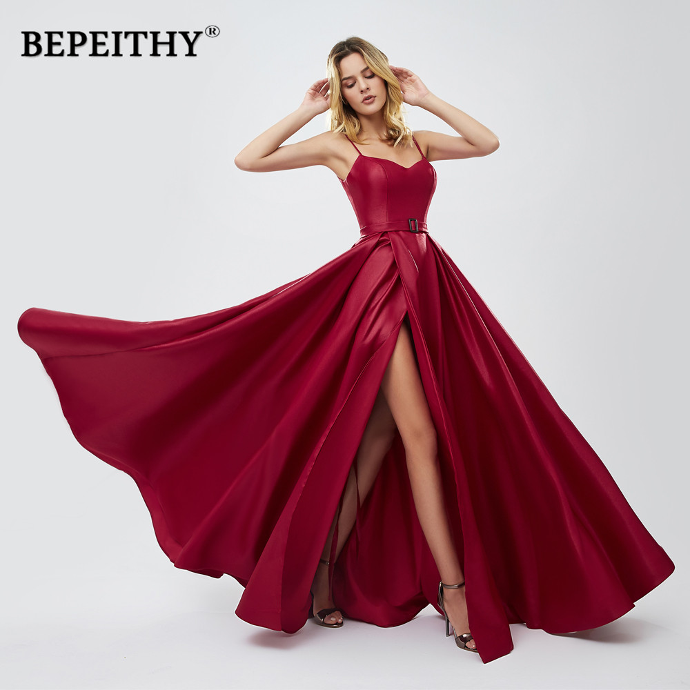 BEPEITHY Vestido De Festa Red Long Prom Dresses 2019 Sexy High Slit Green Evening Party Gown A-line платье вечернее