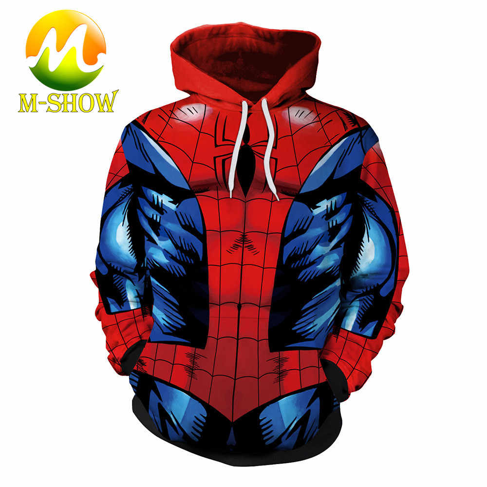 2019 mannen Fashion Superhero 3D Print Hoodie Spider Man De Flash Superman Hooded Sweatshirt Grappige Streetwear Mannen Hip Hop jas