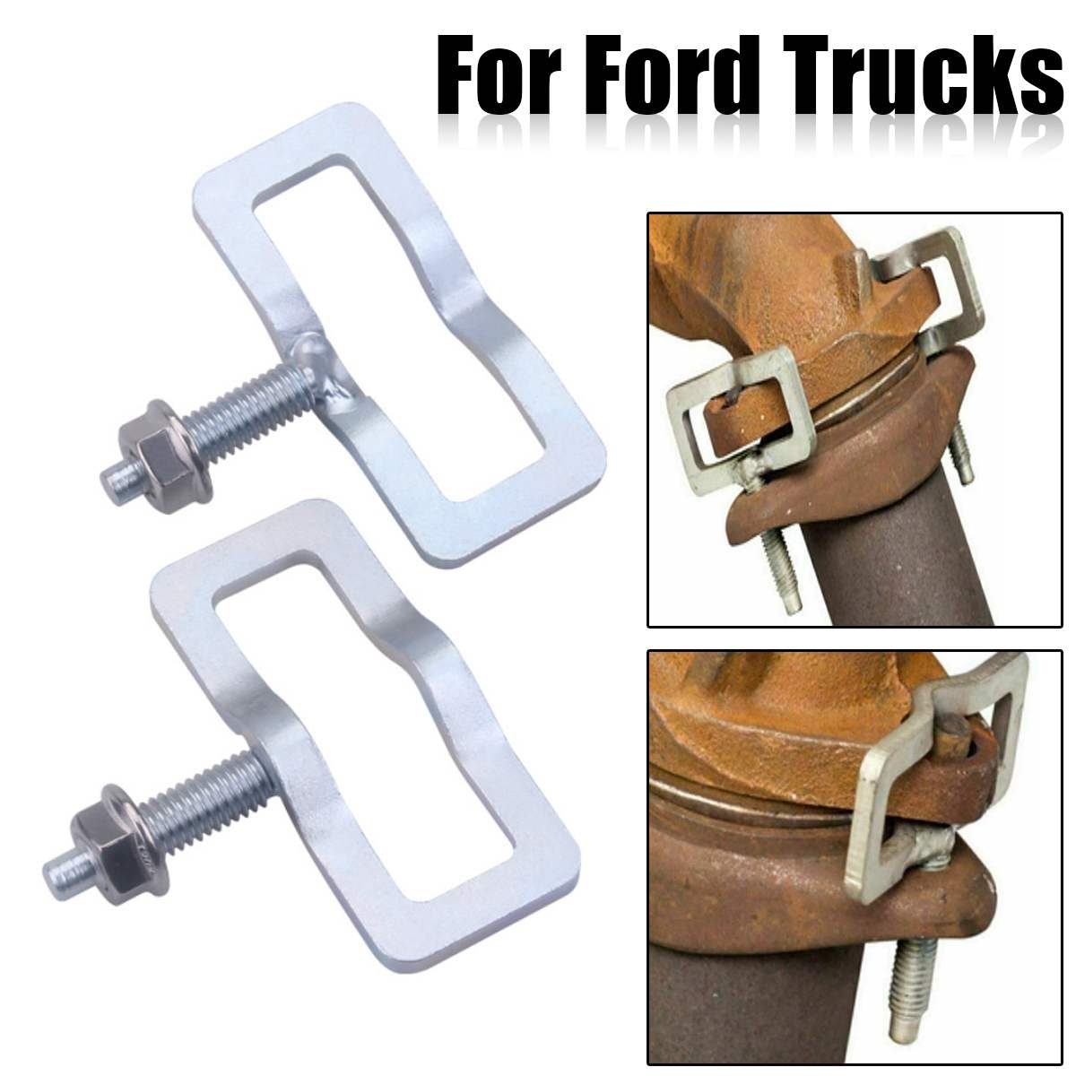 NEW Exhaust Manifold Repair Kit Studs Clamp For Ford Truck Replace System Includes 2 Clamps 2 Studs