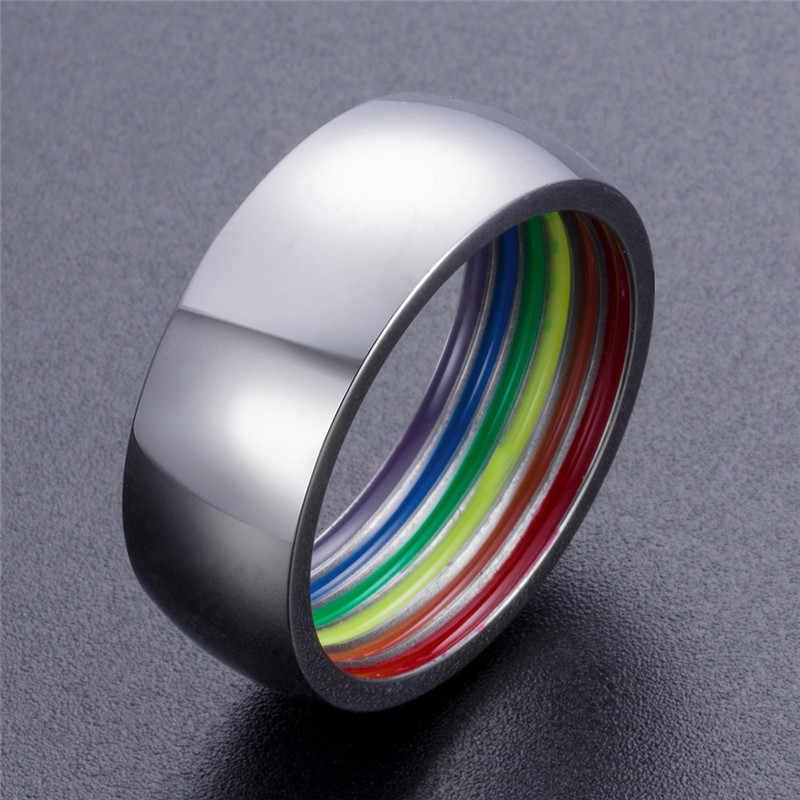 Ranzwal 316L แหวนสแตนเลสสำหรับผู้หญิงผู้ชายด้านใน Rainbow แหวนแฟชั่นเครื่องประดับขนาด US 7 ~ 12