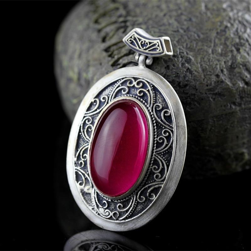 Accessoires transfrontaliers, colliers, vente en gros, pied en argent, incrusté à la main de style ethnique, pendentif en corindon rouge pour femme