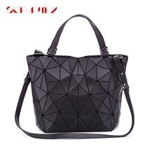 Bolsa feminina dobrável lisa, nova bolsa feminina de mão com alça geométrica casual holográfica