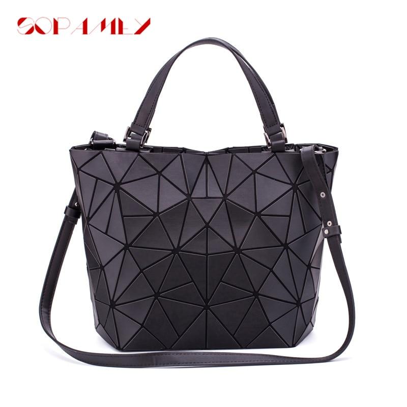 New Women Bags Luminous Handbag Plain Folding Geometric Messenger Bag Female Tote Casual Hologram Women Shoulder Bags Bao Bag-in Shoulder Bags from Luggage & Bags