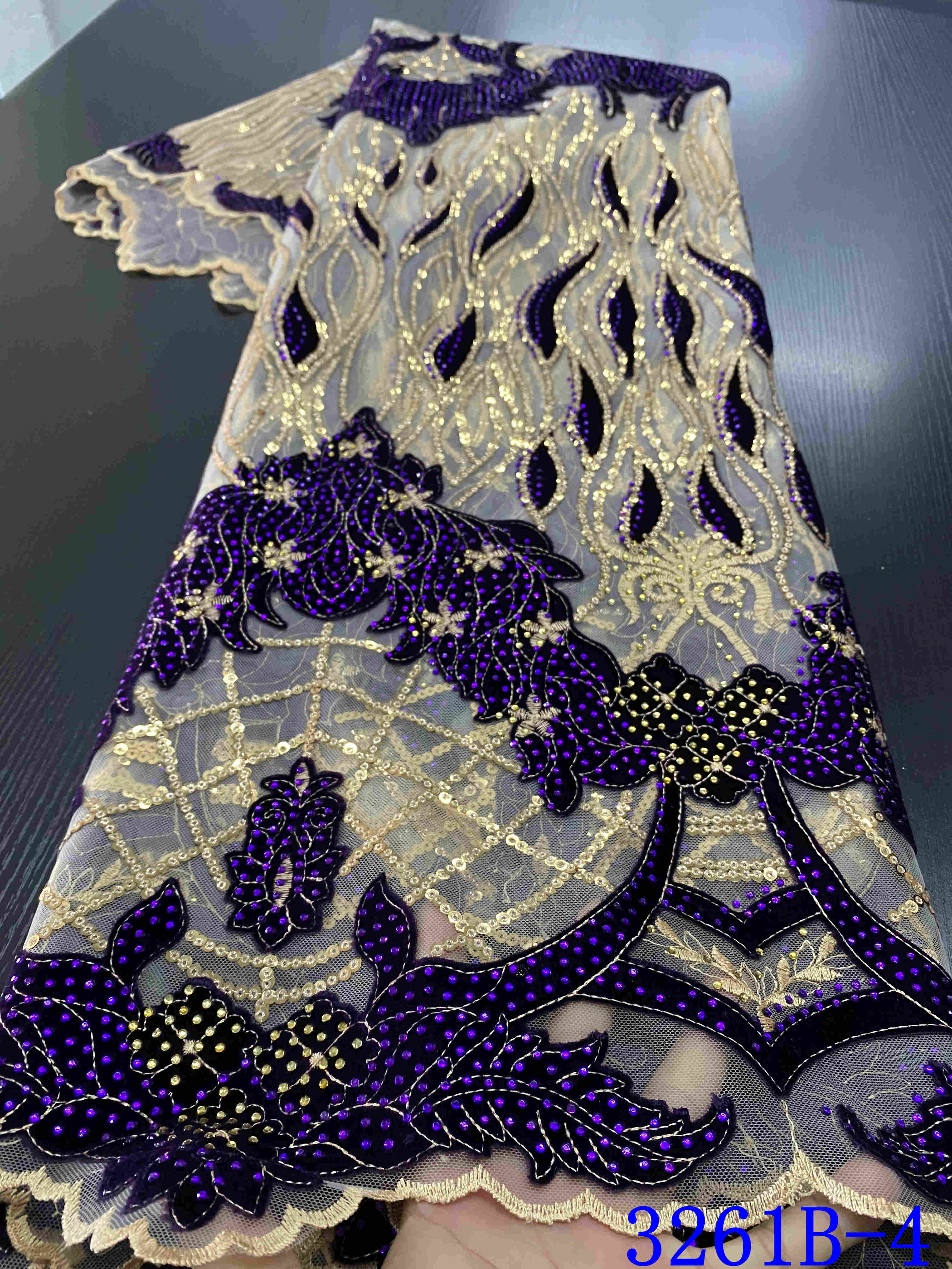 2020 High Quality Tulle French Nigerian Velvet Lace Fabrics Embroidered Sequins Lace Bridal African Lace Fabric YA3261B-4