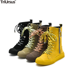 Kid Girls Mid-Calf Boots 2020 New Fashion Zipper Toddler PU Leather Bootie Rubber Sole Little Girl Princess Shoes 3-14 Years