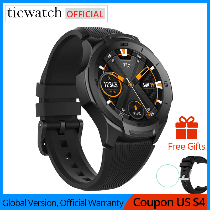 Ticwatch S2 Smart Watch Android Wear Bluetooth GPS Watch Waterproof 5 ATM 24hr Heart rate Monitor Proactive Running Tracking|Smart Watches| |  - title=