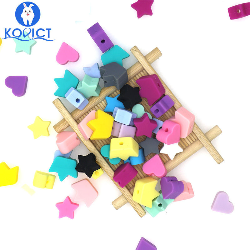 Kovict 60PC Silicone Beads Teething Teether Star Heart Crown Accessories Food Grade Pearl Silicone Star Teething Pacifier
