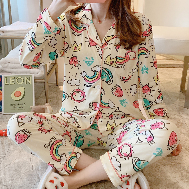 Hot Selling Spring And Autumn New Style Pajamas Women Long Sleeve Fold-down Collar Cardigan Cute Cartoon Tracksuit WOMEN'S Suit