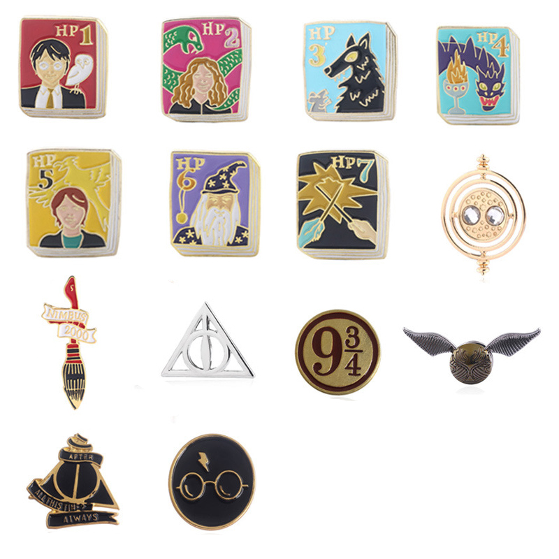 ZXMJ Harry Series Magic book Deathly Hallows Platform 9 3/4 Brooches Potters Time Turner Snitch Pins Badge Fans Backpack Gift