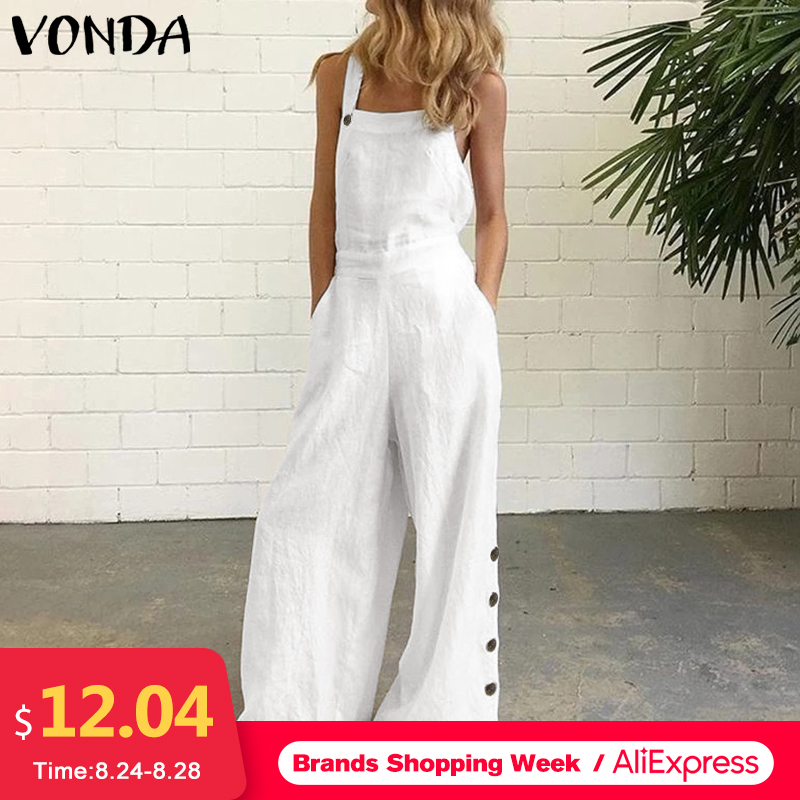Party Rompers Women Office Overalls Sexy Sleeveless Square Collar Playsuits VONDA 2020 Summer Women Casual Wide Leg Pants S-5XL