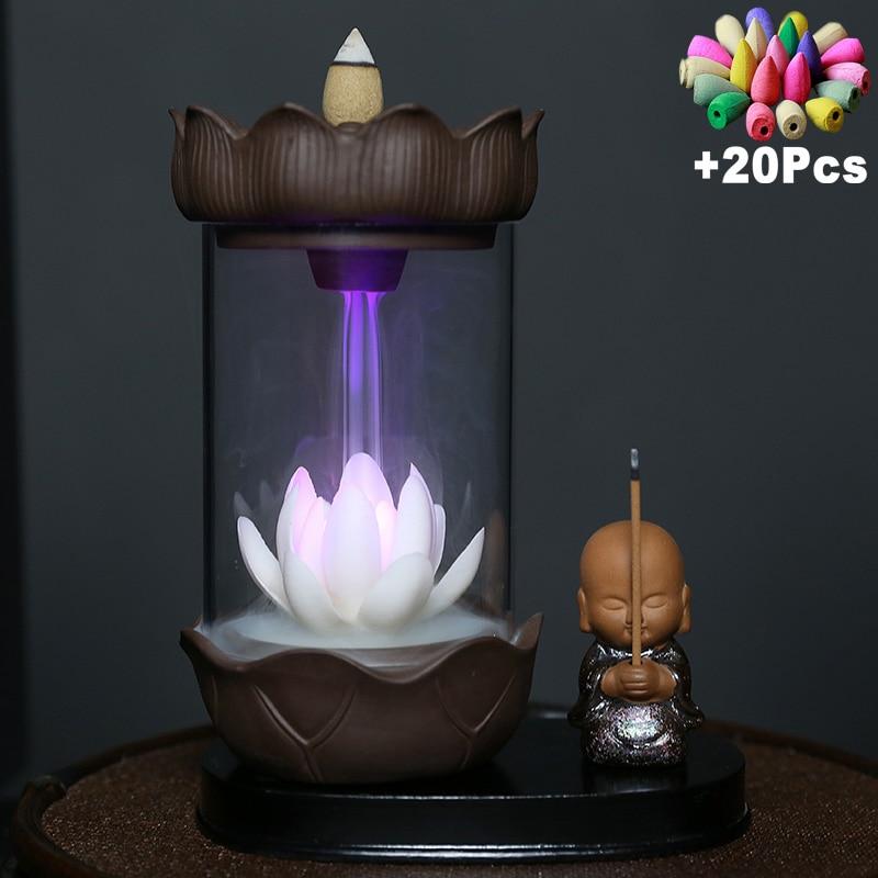 Светодиодная подсветка, меняющая цвет, ветрозащитная подсветка для благовоний «Водопад», подставка для благовоний в виде спокойного монах...