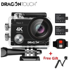 Dragon Touch 4K Action Camera 16MP Vision 3 Underwater Waterproof Camera 170 ° Wide Angle WiFi Sports Camera with Remote Control cheap DragonTouch OmniVision Series Novatek96650 (1080P 30FPS) About 14MP 1050mAh 1 4 inches For Home Semi-professional Extreme Sports