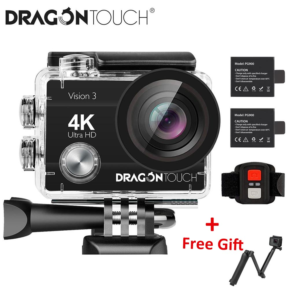Dragon Touch 4K Action Camera 16MP Vision 3 Underwater Waterproof Camera 170 ° Wide Angle WiFi Sports Camera With Remote Control