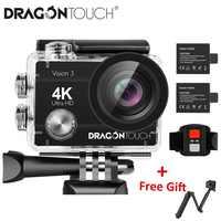 Dragon Touch 4K kamera akcji 16MP Vision 3 podwodna wodoodporna kamera 170 ° szerokokątny WiFi kamera sportowa z pilotem