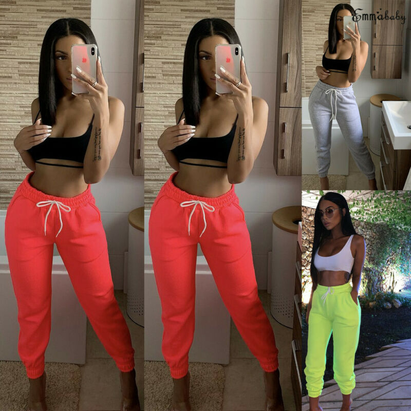 Active Women Sweatpants High Waist Sport Running Gym Stretch Sports Pants Casual Ladies Girls Drawstring Long Pants Joggers