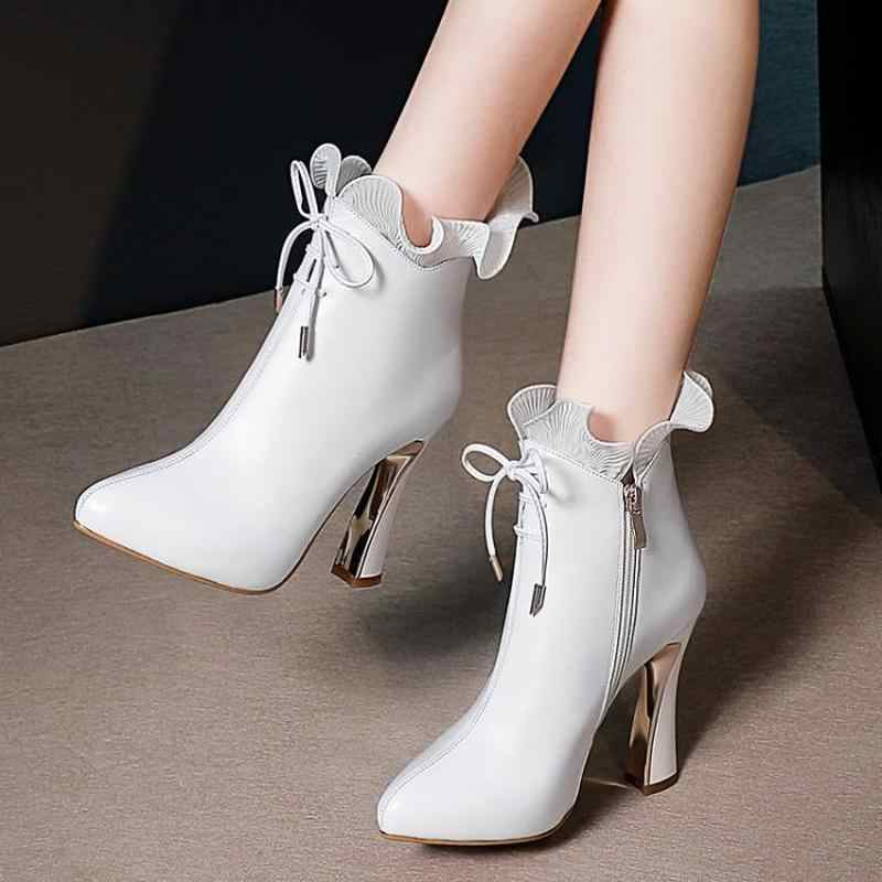 Sonbahar kış çizmeler düz renk yüksek topuk deri kısa tüp sevimli dantel altın kalın topuk 7cm moda hakiki deri kadın ayakkabı