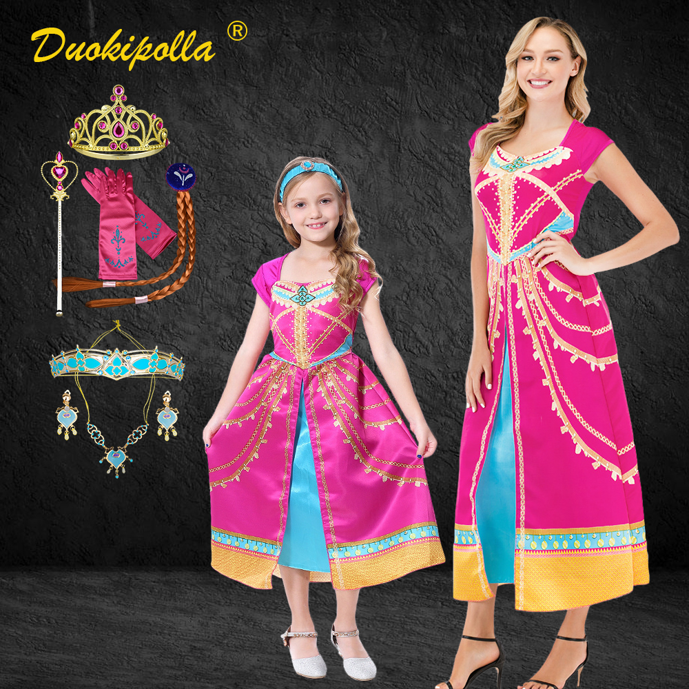 Fancy Jasmine Costume Cartoon Print Mother Daughter Dress Mom And Daughter Jasmine Princess Cosplay Dress Matching Outfits Match