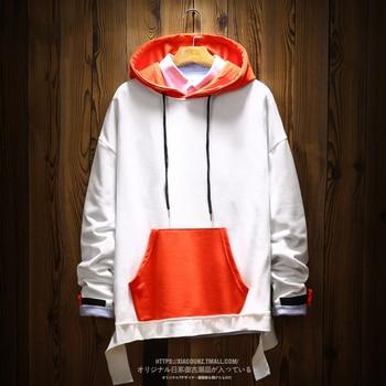 Chinese Cartoon Hoodie Men Printing Splice Pocket Fashion Sweatshirt Personality Hip Hop Hooded Cotton Tracksuit Cloth Stylish 6