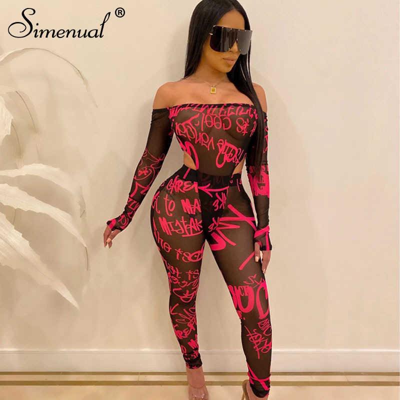Simenual Mesh Sexy Hot przejrzyste kobiety zestaw list drukuj Off ramię 2 sztuka strój z długim rękawem body i spodnie zestawy