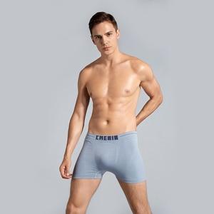 Image 2 - 4Pcs/lot Mens Underwear Men Boxer Panties Polyester Mens Underwear Boxershorts Men Boxers Solid Shorts Brand Underpants CM001