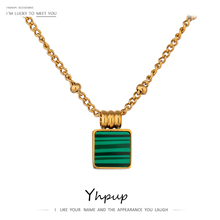 Yhpup Stainless Steel Necklace Green Square Gold Acrylic Pendant Jewelry 2020 Temperament Chain Choker Necklace Women браслет