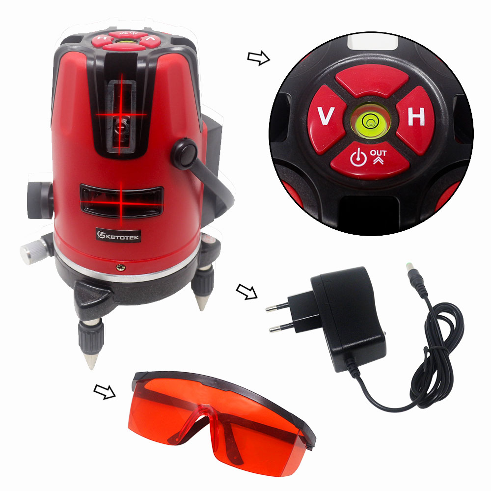 Tools : 5 Red Green Line Laser Level Self-leveling Horizon Vertical Cross Line 360 Degree Rotary 6 Poins 532nm Outdoor Tripod