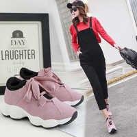 Kamucc mulher tênis liso respirável rendas até lona vulcanize sapatos mulher tenis feminino chaussure femme sapatos de plataforma 35-40