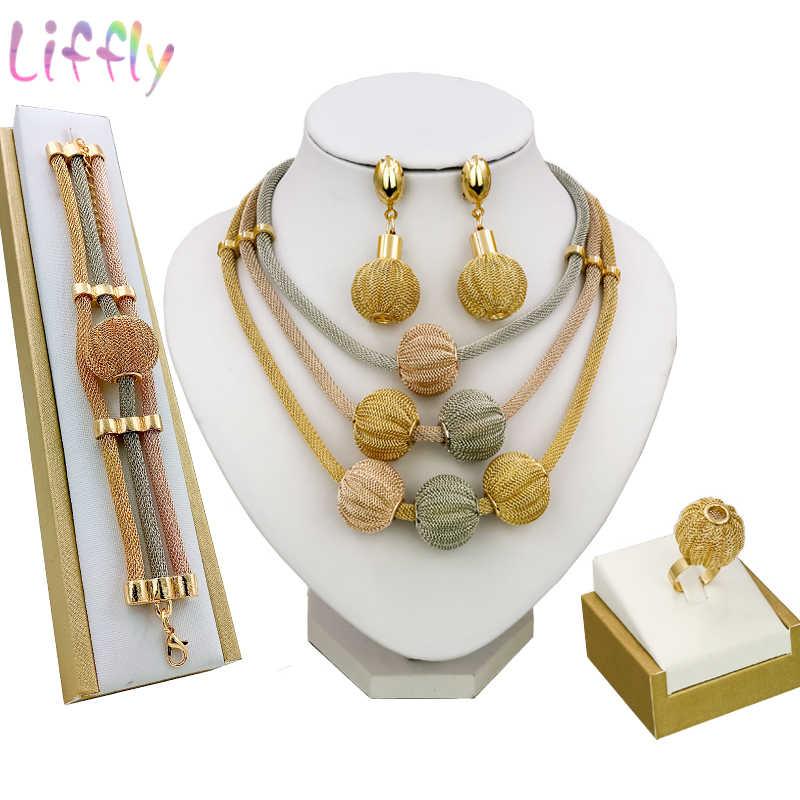 Liffly Dubai Gold Schmuck Sets für Frauen Halskette Armband Ball Form Ohrringe Ring Kreative Hochzeit Schmuck-Sets für Braut