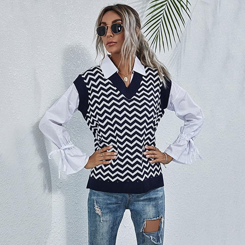 Geometric Stripe V-neck Knitted Sweater Vest for Women Korean OL Sleeveless Pullover Spring Women Vest 2021 Waistcoat