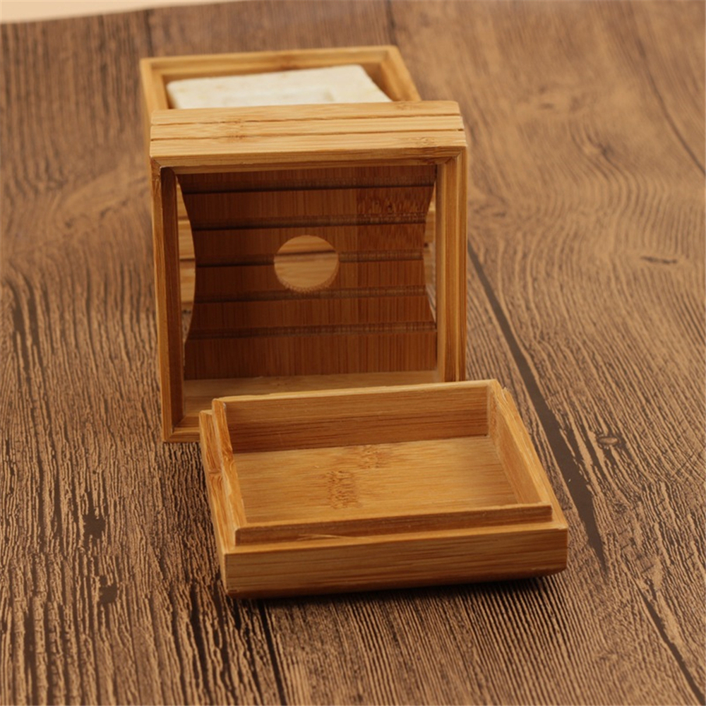 1pc Natural Bamboo Soap Dish Wooden Soap Tray Holder Storage Soap Rack Plate Box Container for Bathroom