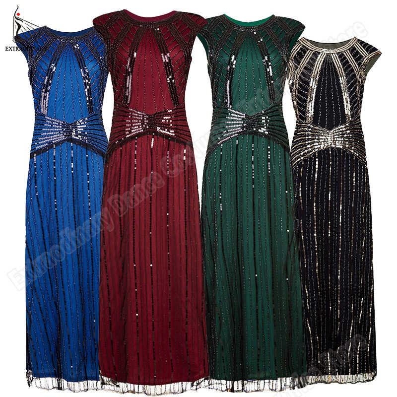 Sequin 1920s Long Dresses Women Flapper Vintage Great Gatsby Party Dress Art Deco Midi Embellished Sexy Sleeveless Summer